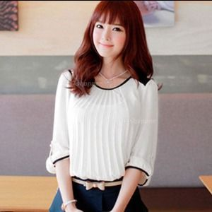 Tops - Brand new Crew neck,chiffon blouse top,Supper cute
