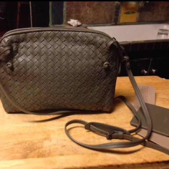 BOTTEGA VENETA Gray Intrecciato Cross Body Bag 9bd026531ed73