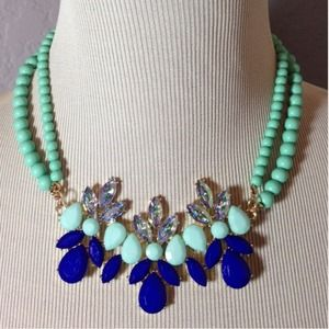 Mint & Cobalt Bead Statement Necklace