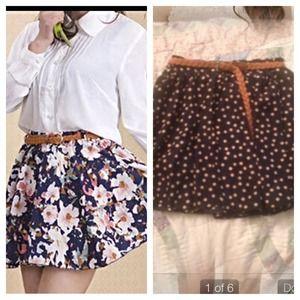 NWOT elastic high waisted belted skirt.