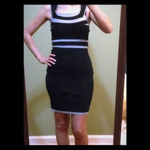 EXPRESS BLACK AND GRAY BANDAGE DRESS