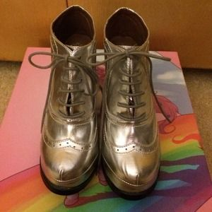 Jeffrey campbell silver holographic wedge