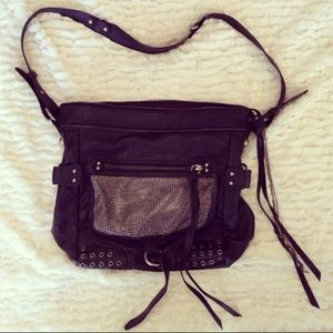 Black Faux Leather Silver Studded Crossbody Bag