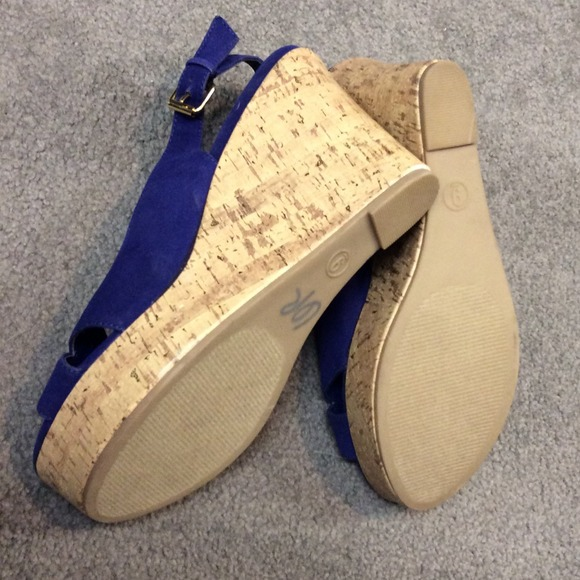 83 shoes reserved royal blue cork wedge sandals