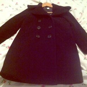 J Crew double breasted pea coat- blk stadium cloth