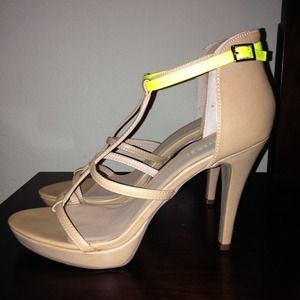 Nude and Lime Green Heels