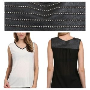 Stella & Jamie Tops - Stella & Jamie Studded Genuine Leather Top