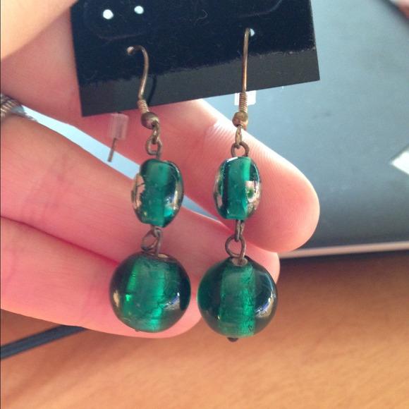 Jewelry - Green beaded earrings