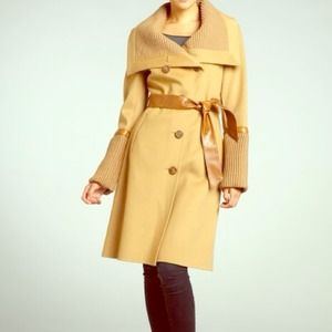 Mackage Leigh Wool Coat. Camel with Leather Detail