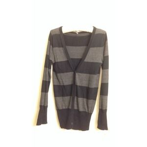Black and Gray Striped Cardigan