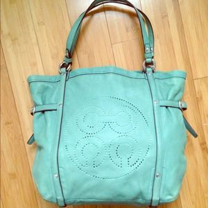 Coach Audrey leather Andie Tote - Surf Green