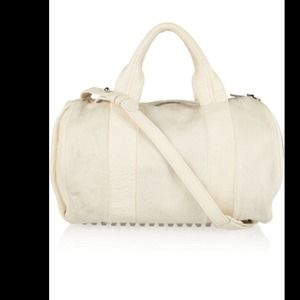 CLEARANCE A WANG OFF WHITE ROCCO BAG W CALF HAIR