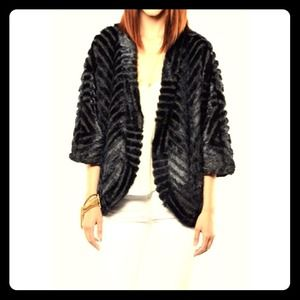 Blue/black mohair cardigan jacket