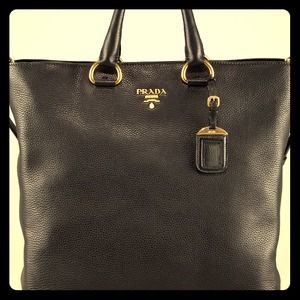 New Prada pebbled leather vitello shopper tote bag