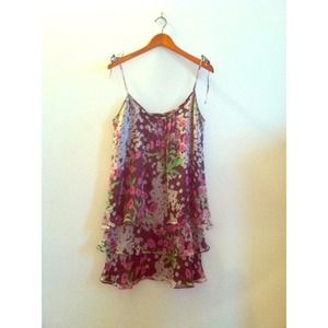 Zara chiffon purple floral dress