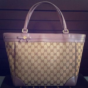 Authentic GUCCI Mayfair Handbag Tote Beige Mauve