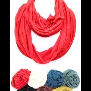 Rhinestone jersey knit infinity scarf