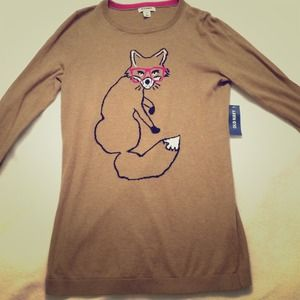 Old Navy Sweaters - NWT OLD NAVY 💗 Brown Knit Fox Sweater