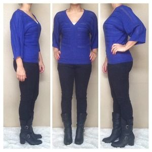 The Limited Tops - The Limited Blue V-neck Knit Sweater Top