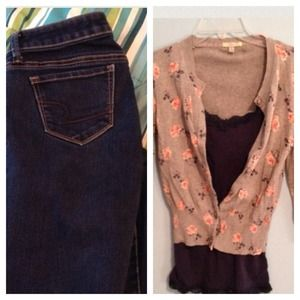 Denim - Floral Cardigan and Jeans Bundle