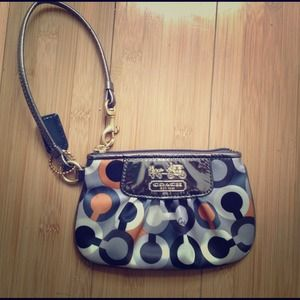Coach satin gray orange Wristlet
