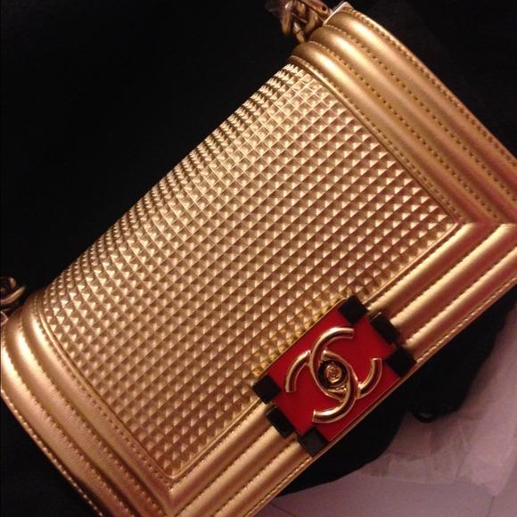 e07b05835763 CHANEL Bags | Le Boy 2014 Cruise Collection Gold Small | Poshmark