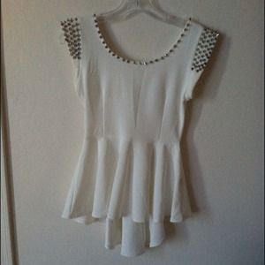 Tops - Spike collar peplum top