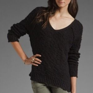 Free People Black Shaggy Songbird Sweater