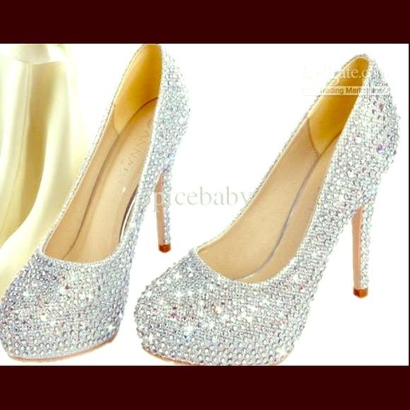 Silver Diamond High Heel Shoes