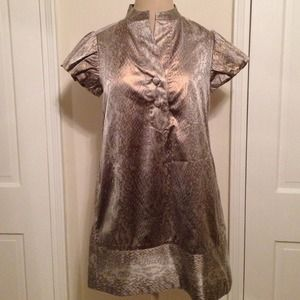Diane Von Furthenberg snakeskin metallic dress