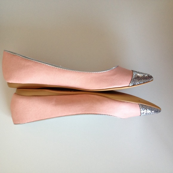 Shoes - Pink - Silver Sparkle Flats