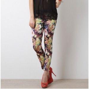 HP Pastel Printed Floral Skinny Pants
