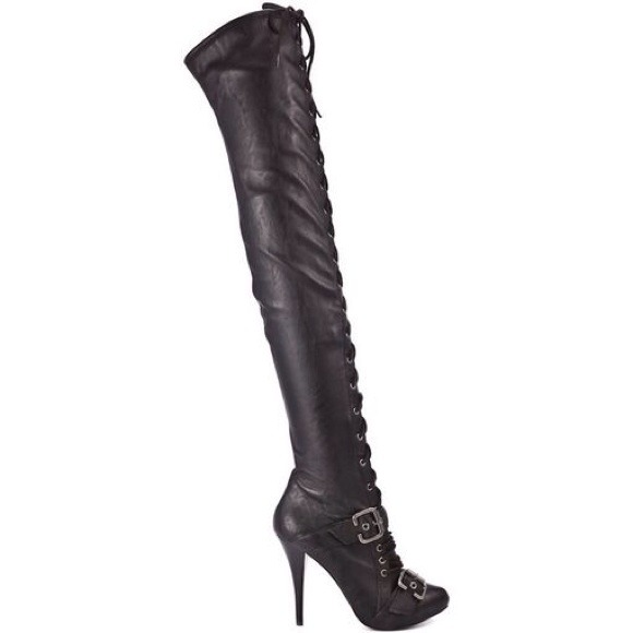 34% off Guess Boots - NEW Guess black leather thigh high laced ...
