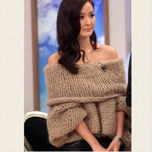 Sweaters - Cappuccino off the shoulder knitted top