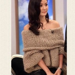 Sweaters - Sold out!!Cappuccino off the shoulder knitted top