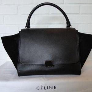 Celine black matte trapeze bag