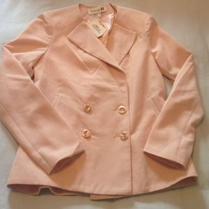 Forever 21 Coral Pink Double Breasted Blazer S NWT