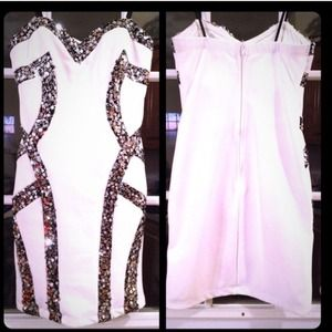 Dresses & Skirts - white and silver homecoming/prom dress