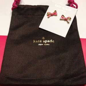NWT Kate Spade pink/gold bow earrings