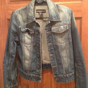 Express distressed dirty wash jean jacket