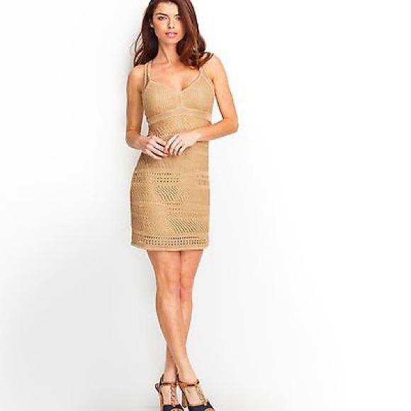 1b147cc452e NEW Guess Sultry Crochet Dress Gold XS