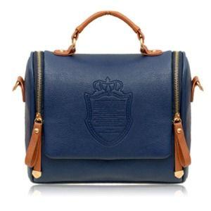 Handbags - Navy Blue Leather Embossed Handbag