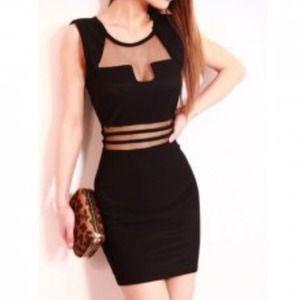 Dresses & Skirts - Black Geometric Cutout Mesh Party Dress