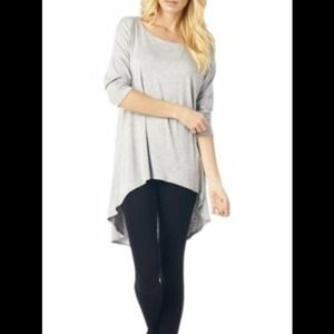 Heather Grey High-Low Tunic Blouse w/ 3/4 Sleeves