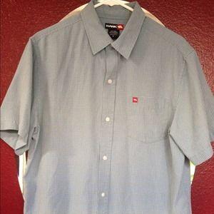 NWOT! Men's Dusty Blue HAWK button front Shirt~ M