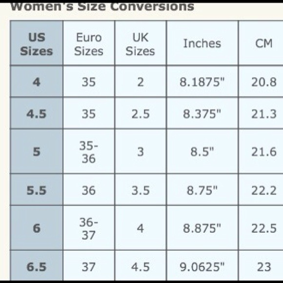 Euro shoe size conversion chart OS from Karen's closet on Poshmark