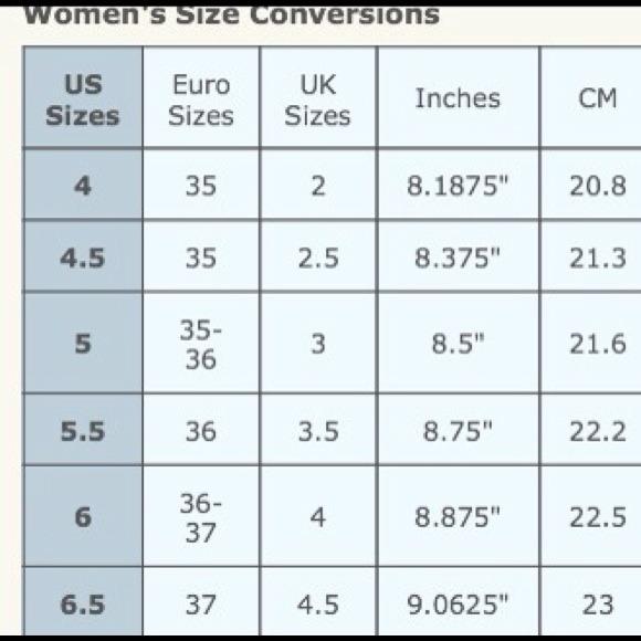 Euro shoe size conversion chart os from karen s closet on poshmark