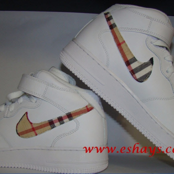 reputable site f63c5 1b3e8 Custom Designer Plaid Print Nike Air Force Ones
