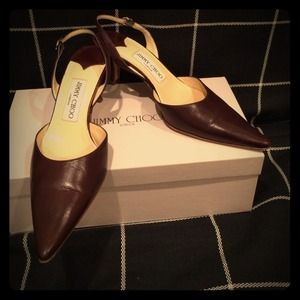 Brown leather Jimmy Choo kitten heels Size 37