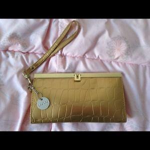 Moving Sale!Lulu Gold Croc Clutch